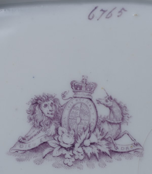 Pattern 6765 rectangular dessert dish backstamp and pattern number