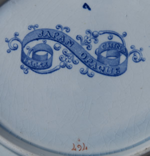 Pattern 767 oval dessert dish backstamp and pattern number