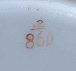 Pattern 2/860 saucer pattern number