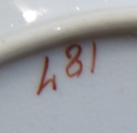 Pattern 481 saucer pattern number