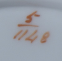 Pattern 5/1148 saucer pattern number