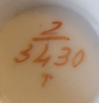 Pattern 2/3430 coffee cup pattern number