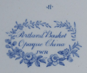 Portland Basket dessert plate backstamp