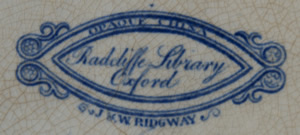 Radcliffe Library dessert plate backstamp