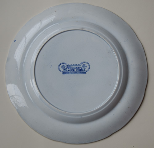 Dresden Opaque China dinner plate back