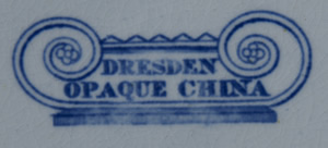 Dresden Opaque China dinner plate backstamp