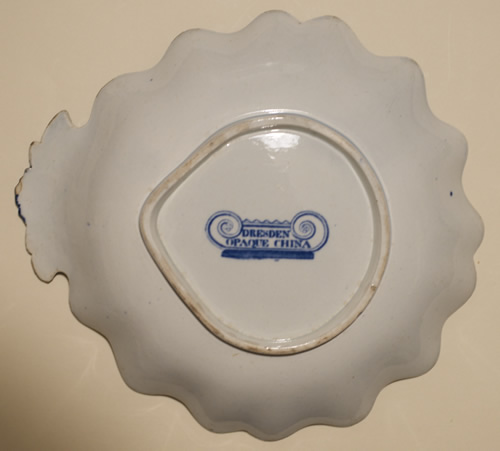 Dresden Opaque China shell dessert dish back