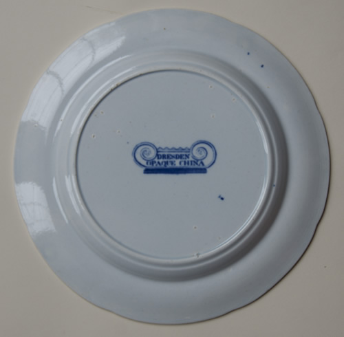 Dresden Opaque China dessert plate back