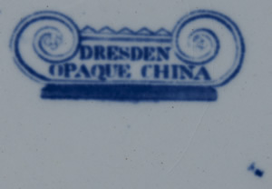 Dresden Opaque China dessert plate backstamp