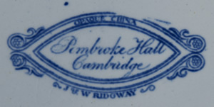 Pembroke Hall soup plate backstamp