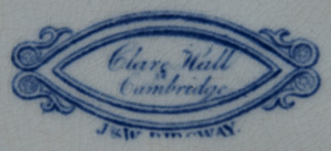 Clare Hall dessert plate backstamp