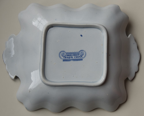 Dresden Opaque China square dessert dish back