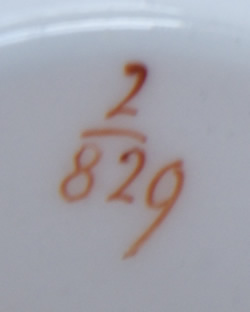 Pattern 2/829 tea cup pattern number