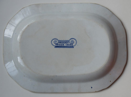 Dresden Opaque China meat dish back