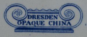 Dresden Opaque China meat dish backstamp
