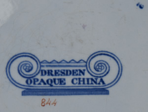 Pattern 844 dinner plate backstamp and pattern number