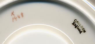 Pattern K/1448 coffee saucer mark and pattern number