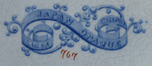 Pattern 767 dessert plate backstamp and pattern number