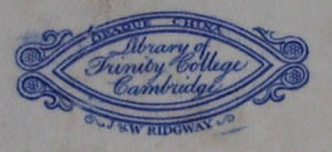 Trinity Library meat dish backstamp