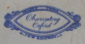Observatory covered vegetable dish backstamp