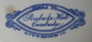Pembroke Hall centre piece backstamp