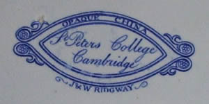St Peters College soup tureen stand backstamp
