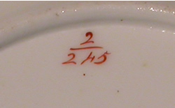 Pattern 2/845 saucer pattern number
