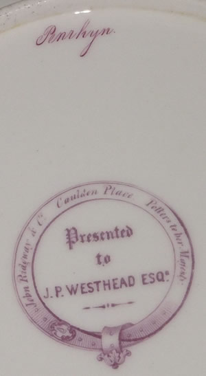J P Westhead Penrhyn dessert plate backstamp and pattern number