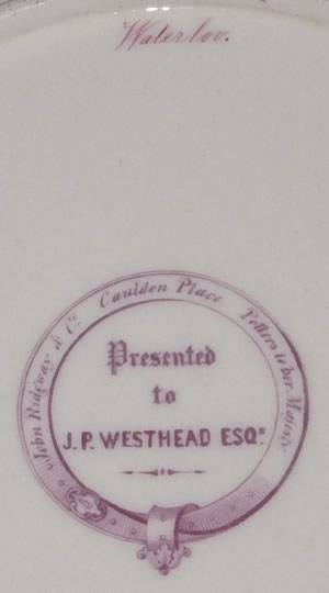 J P Westhead Waterloo dessert plate backstamp and pattern number