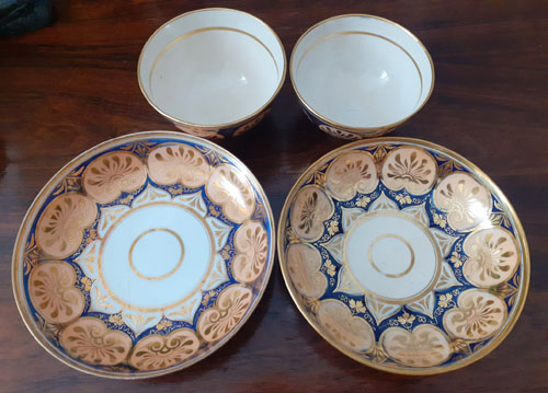 Pattern 396 pair of cups and saucers top