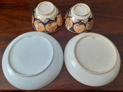 Pattern 396 pair of cups and saucers base