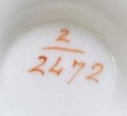 Pattern 2/2472 tea cup pattern number