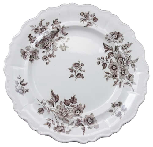 Dresden Flowers brown dinner plate front